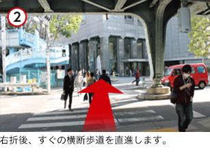 右折後すぐの横断歩道を直進します。