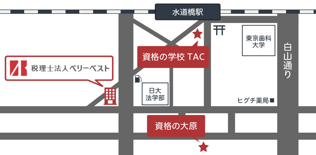 水道橋付近の資格学校地図